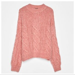 NWT. Bershka Dirty Pink Cable-knit Sweater. Size M